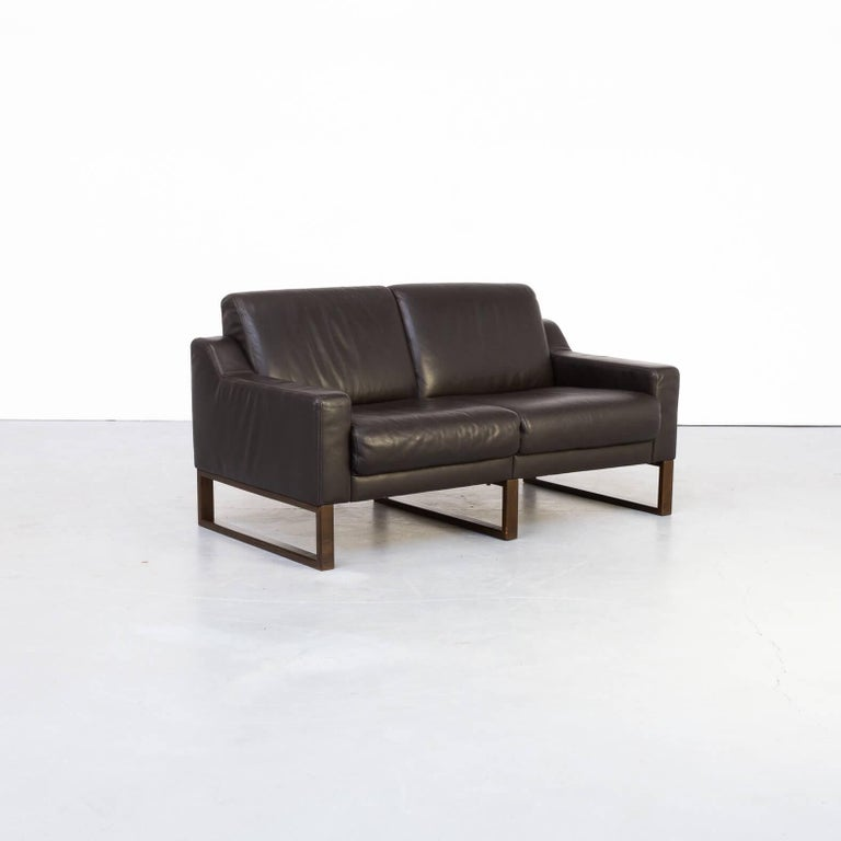 Post-Modern 90s Brown Leather Two-Seat Sofa For Sale