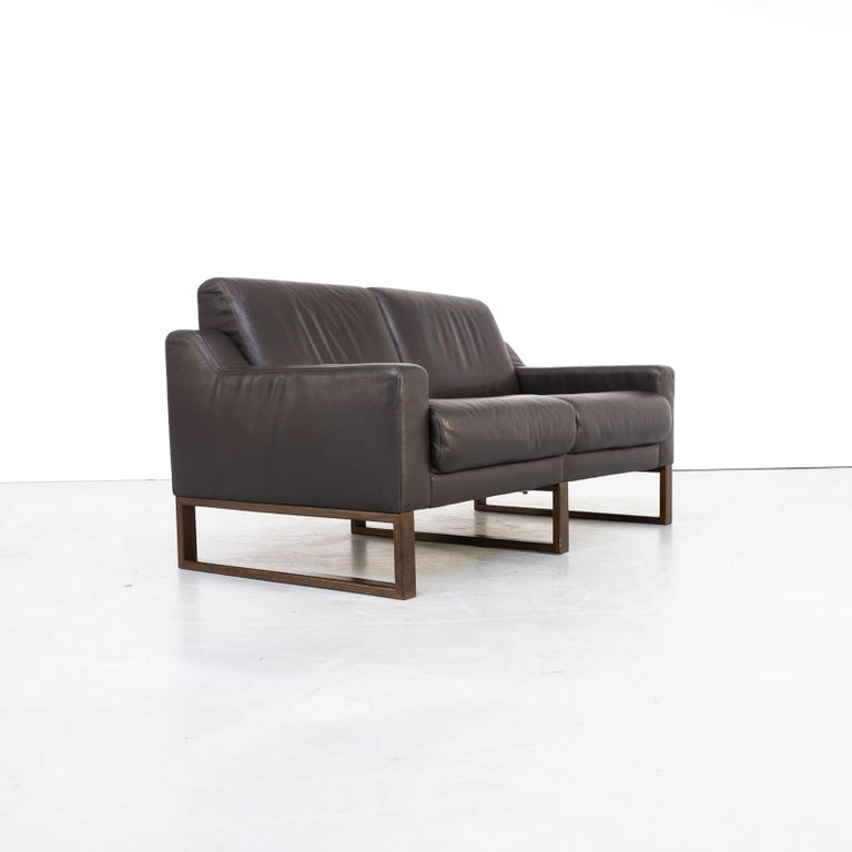 20th Century 90s Brown Leather Two-Seat Sofa For Sale