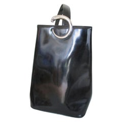 90's Cartier Panthere Sidepack Black Leather Backpack