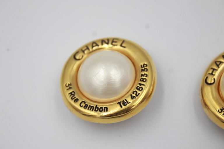90's Chanel Golden  Vintage Earrings In Good Condition For Sale In Paris, FR