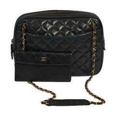 90's Chanel Vintage Black Quilted Leather Shoulder Bag with Wallet
