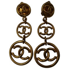 90's Chanel Vintage Haute Couture Collection Long Logo Earrings