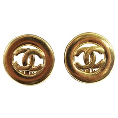 90's Chanel Vintage  Logo Earrings in Gold-Plated Metal