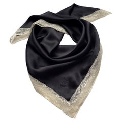 90's Christian Dior Square Silk Scarf with White Calais Lace from FW 1998