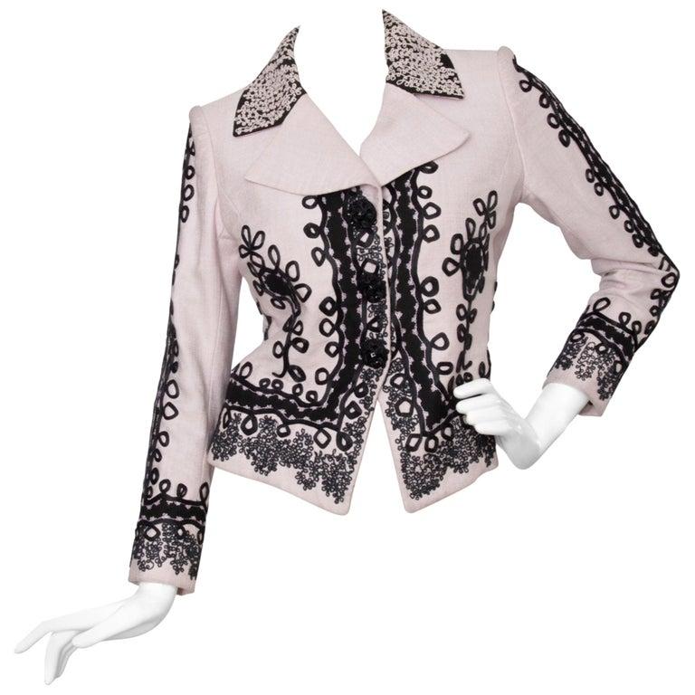 90s Christian Lacroix Lavender Haute Couture Blazer For Sale
