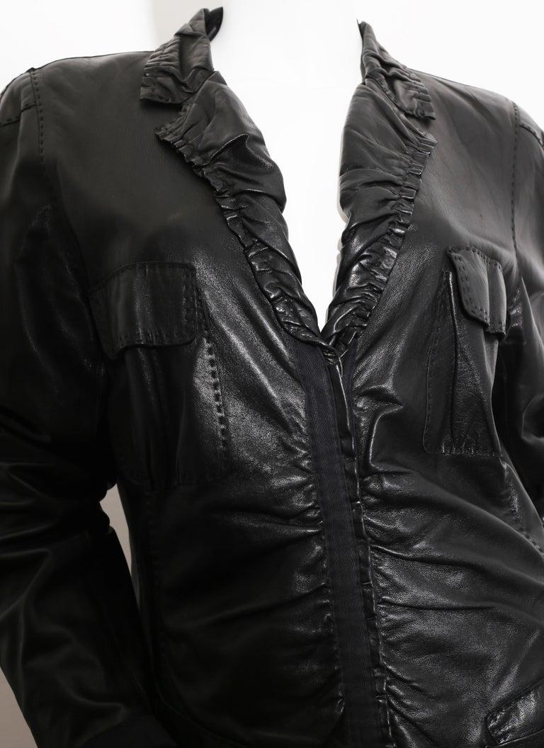 90s DONNA KARAN Black Label Lambskin black leather vest In Excellent Condition For Sale In  Bilbao, ES