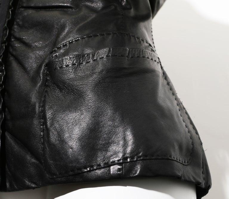 Women's  90s DONNA KARAN Black Label Lambskin black leather vest For Sale