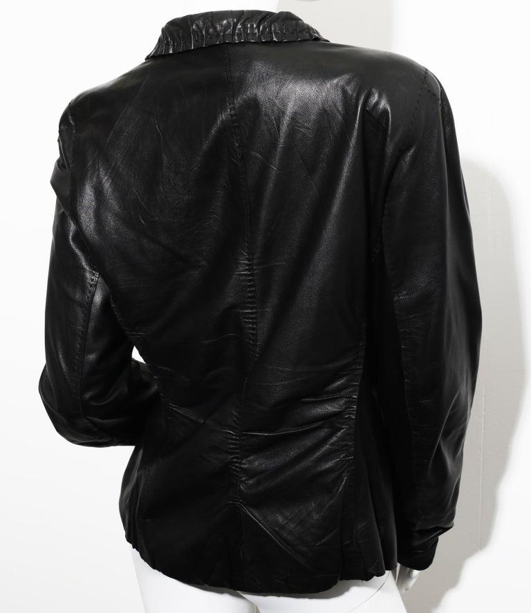 90s DONNA KARAN Black Label Lambskin black leather vest For Sale 1