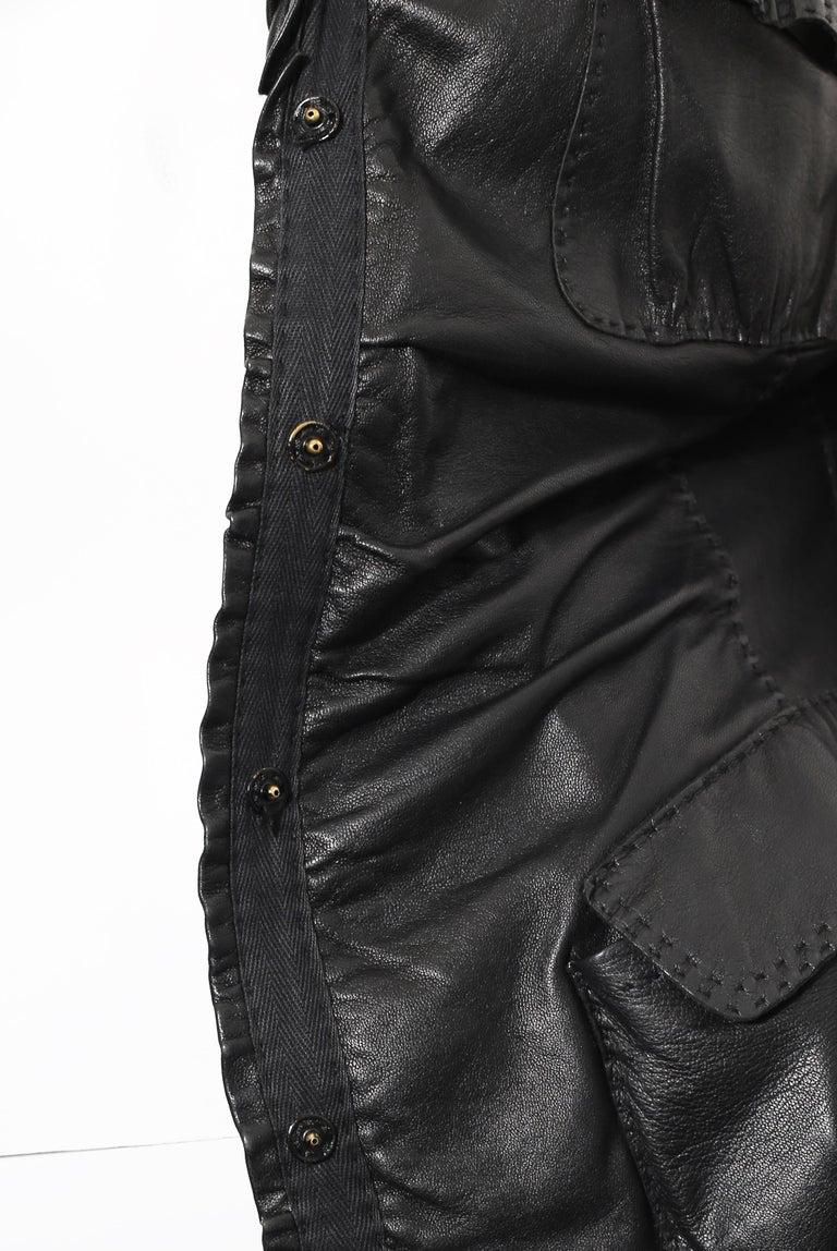 90s DONNA KARAN Black Label Lambskin black leather vest For Sale 2