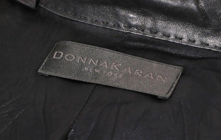 90s DONNA KARAN Black Label Lambskin black leather vest For Sale 3