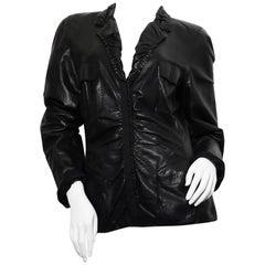 90s DONNA KARAN Black Label Lambskin black leather vest