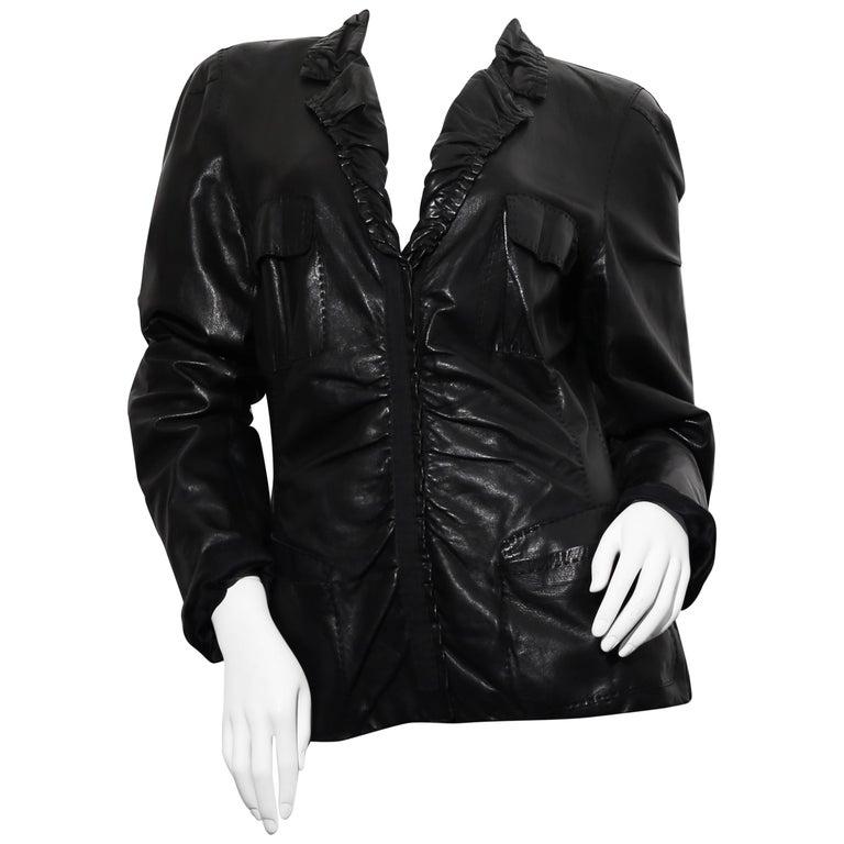 90s DONNA KARAN Black Label Lambskin black leather vest For Sale