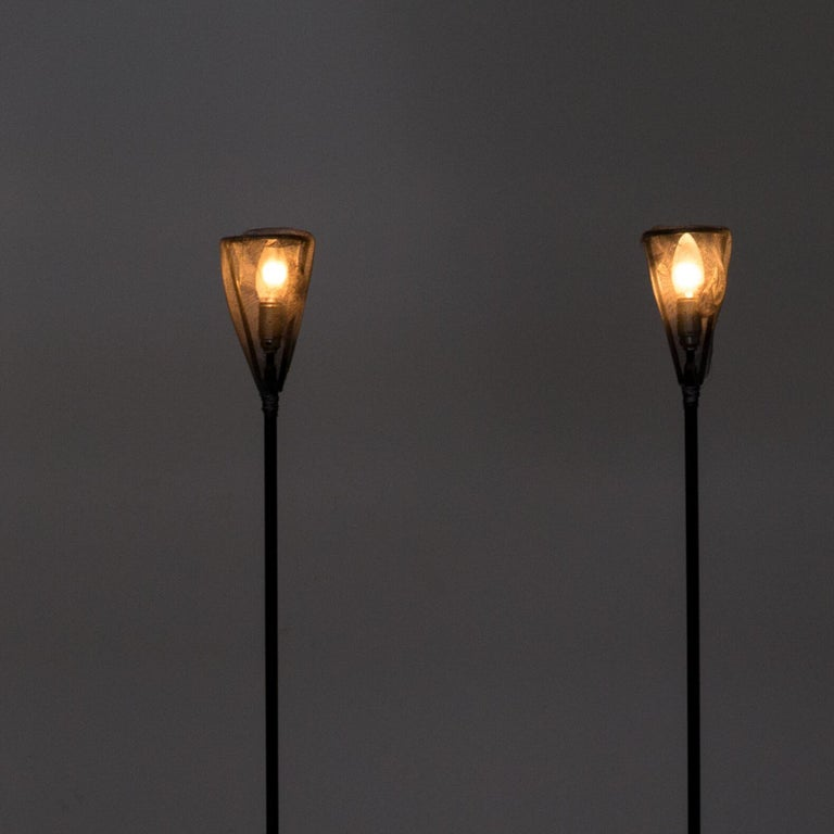 Post-Modern 1990s Early Edition Metal Floor Lamp for Baxter, Set of 2 For Sale