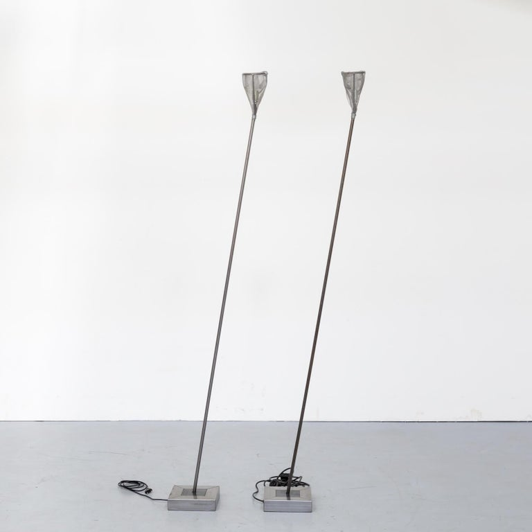 Italian 1990s Early Edition Metal Floor Lamp for Baxter, Set of 2 For Sale
