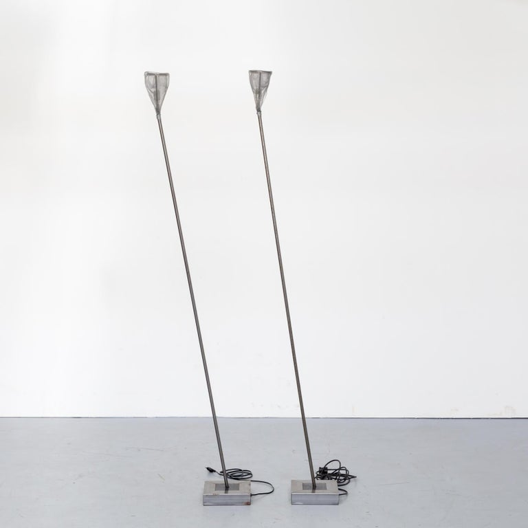 1990s Early Edition Metal Floor Lamp for Baxter, Set of 2 In Good Condition For Sale In Amstelveen, Noord