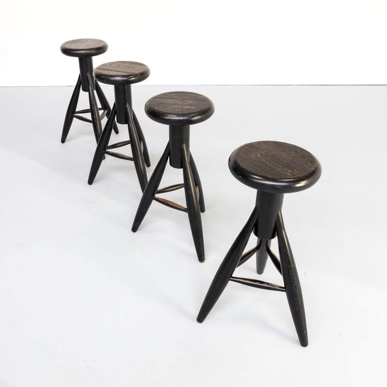 1990s Eero Aarnio 'EA001' Black Stool for Artek Set/4 In Good Condition For Sale In Amstelveen, Noord