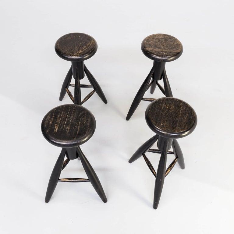 Late 20th Century 1990s Eero Aarnio 'EA001' Black Stool for Artek Set/4 For Sale