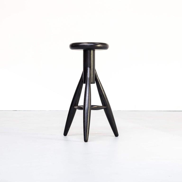 Wood 1990s Eero Aarnio 'EA001' Black Stool for Artek Set/4 For Sale