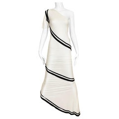 90s Gianfranco Ferre White and Black Knit One Shoulder Gown