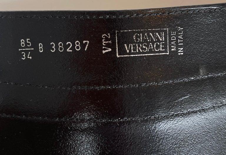 Black 90's Gianni Versace Corset Belt Leather & Metal For Sale