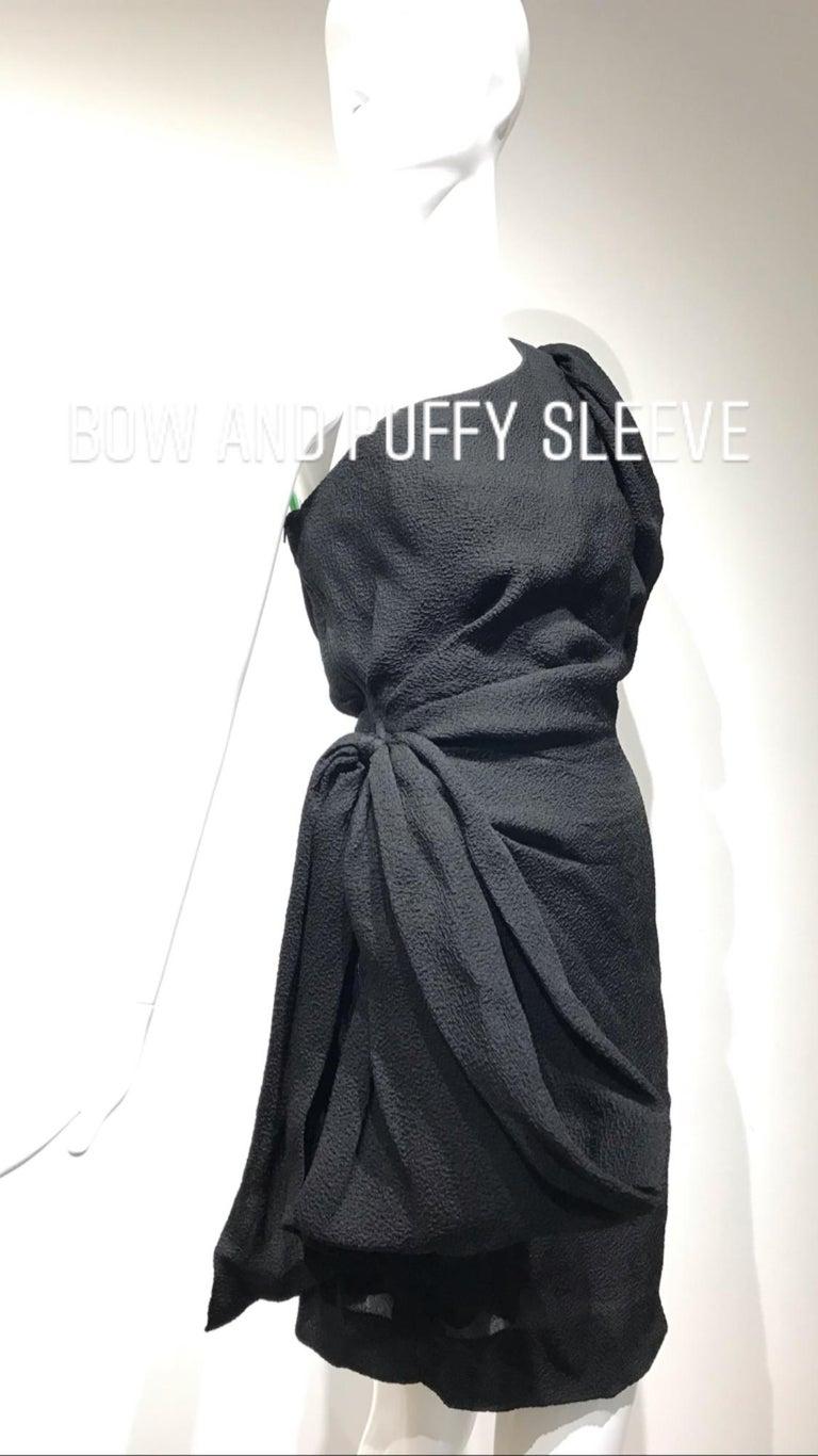90s Givenchy Black Silk Matelasse One shoulder Cocktail Dress  For Sale 7