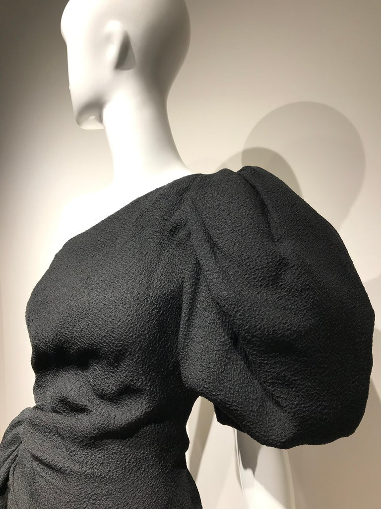 90s Givenchy Black Silk Matelasse One shoulder Cocktail Dress  In Good Condition For Sale In Beverly Hills, CA