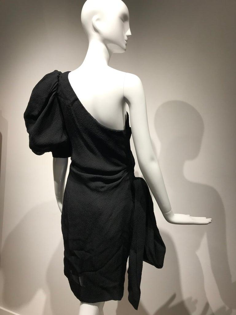 Women's 90s Givenchy Black Silk Matelasse One shoulder Cocktail Dress  For Sale