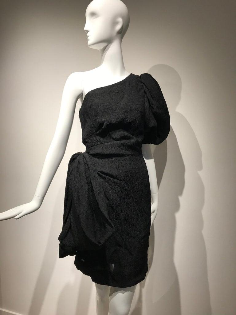 90s Givenchy Black Silk Matelasse One shoulder Cocktail Dress  For Sale 3