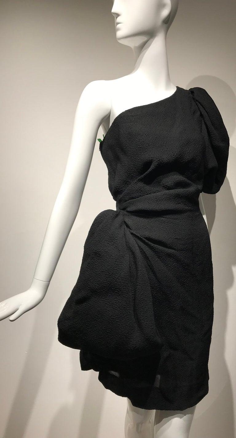 90s Givenchy Black Silk Matelasse One shoulder Cocktail Dress  For Sale 4