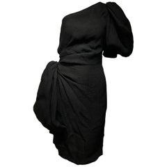 1990s Givenchy Black Silk Matelasse One shoulder Cocktail Dress