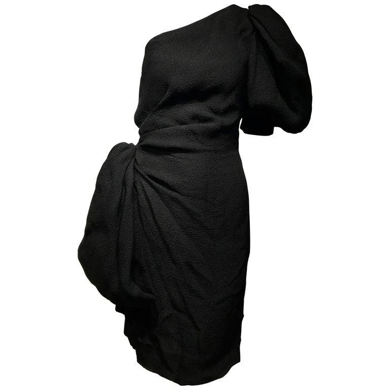 90s Givenchy Black Silk Matelasse One shoulder Cocktail Dress  For Sale