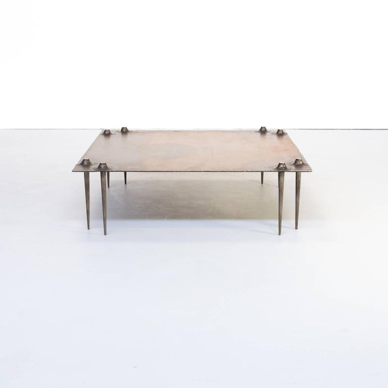 1990s Brutalist coffee table by Idir Mecibah (1958-2013), produced by Smederij Moerman 1998. This solid steel table is from the scrab series. Mecibah designed the scrab series in the late 1980s and the table has been produced till the end of the