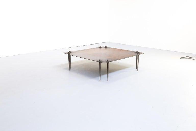 Mid-Century Modern 1990s Indir Mecibah Solid Metal Artwork Coffee Table for Smederij Moerman For Sale