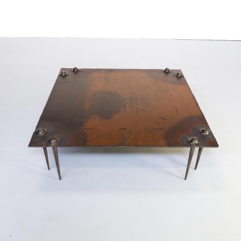 1990s Indir Mecibah Solid Metal Artwork Coffee Table for Smederij Moerman In Good Condition For Sale In Amstelveen, Noord