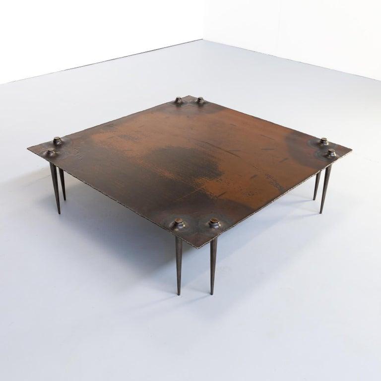 20th Century 1990s Indir Mecibah Solid Metal Artwork Coffee Table for Smederij Moerman For Sale