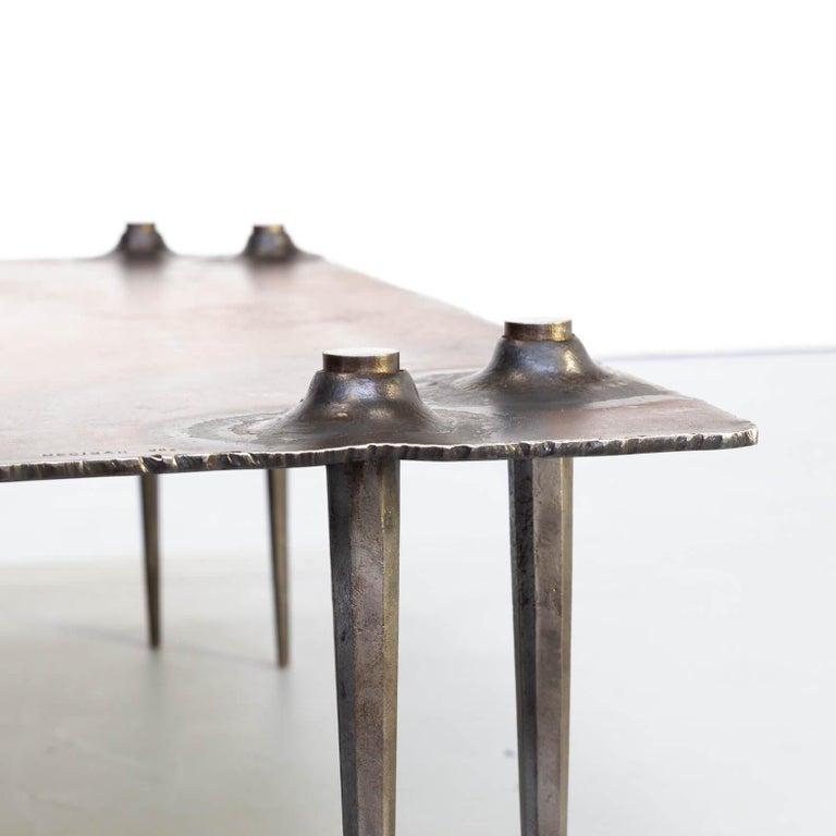 1990s Indir Mecibah Solid Metal Artwork Coffee Table for Smederij Moerman For Sale 1