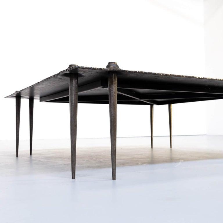 1990s Indir Mecibah Solid Metal Artwork Coffee Table for Smederij Moerman For Sale 2