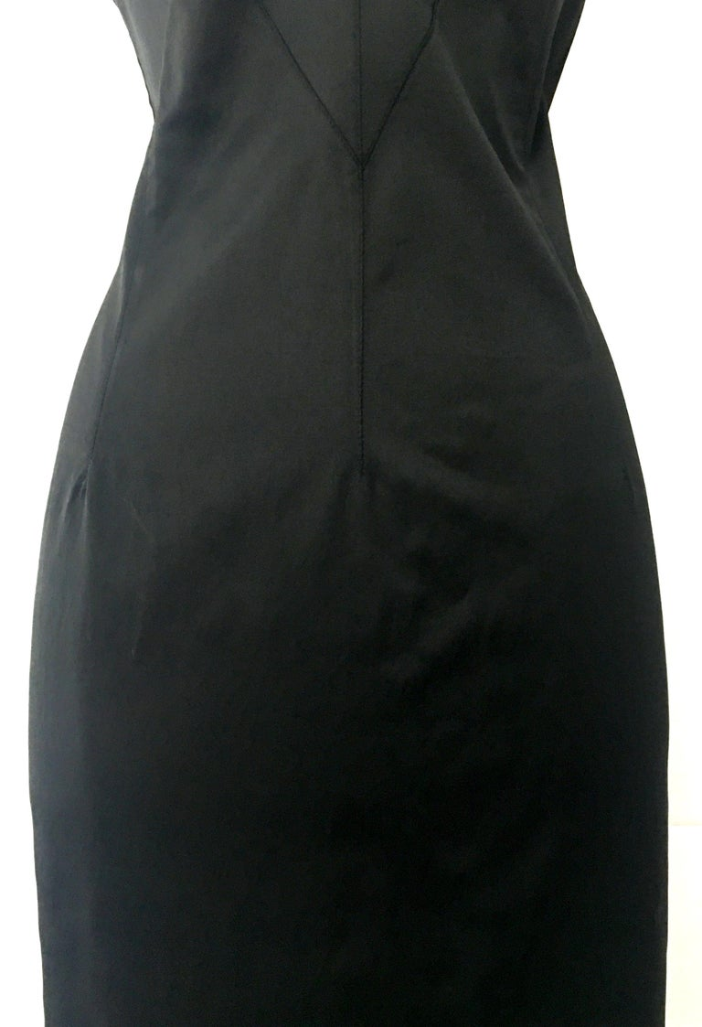 90'S Italian  Dolce & Gabbana Black Fitted Slip Style Dress Sz-46 For Sale 9
