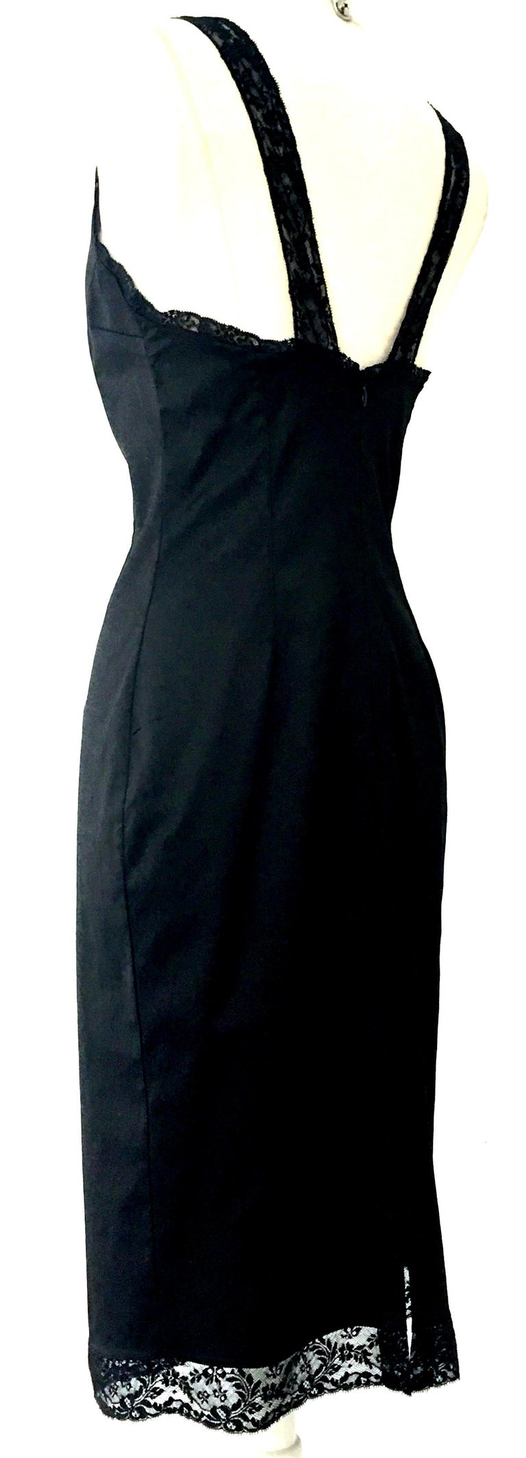 Women's or Men's 90'S Italian  Dolce & Gabbana Black Fitted Slip Style Dress Sz-46 For Sale