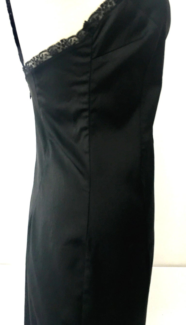 90'S Italian  Dolce & Gabbana Black Fitted Slip Style Dress Sz-46 For Sale 2