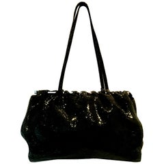90'S Italian Jet Black & Chrome Hand Bag By, Carla Mancini