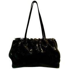 90'S Italian Jet Black & Chrome Hand Bag By, Carla Mancini