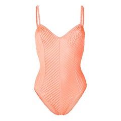 90s Jean-Louis Scherrer Salmon Pink Onepiece Swimwear