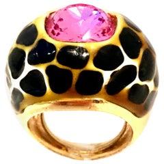 90'S Kenneth J Lane Black & Gold Enamel Swarovski Crystal Pink Sapphire Ring