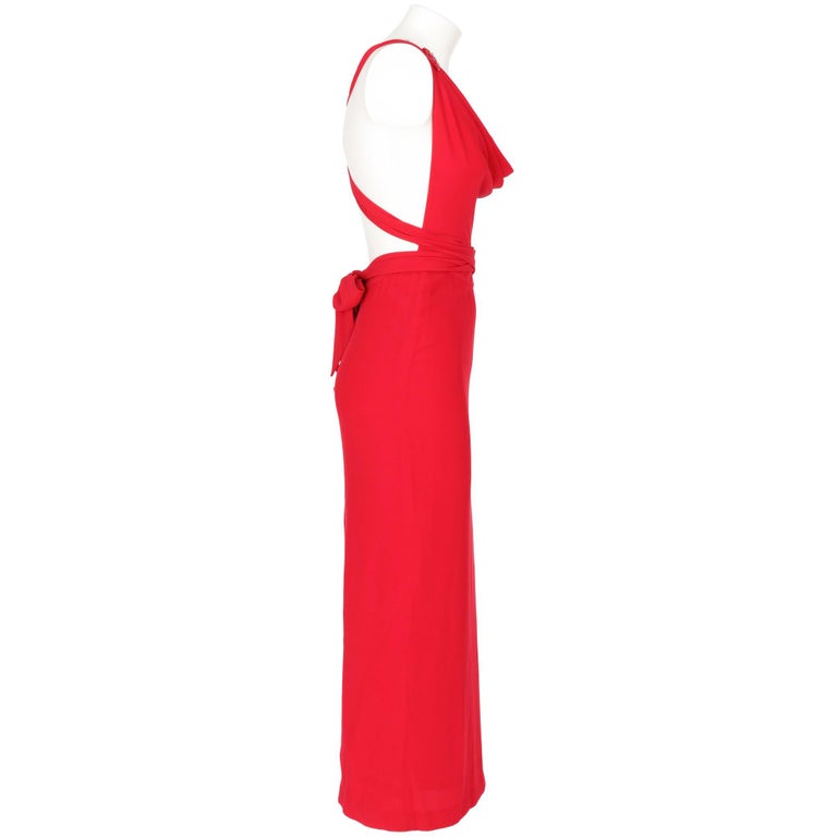 90s Lancetti Red Silk Dress In Excellent Condition For Sale In Lugo (RA), IT
