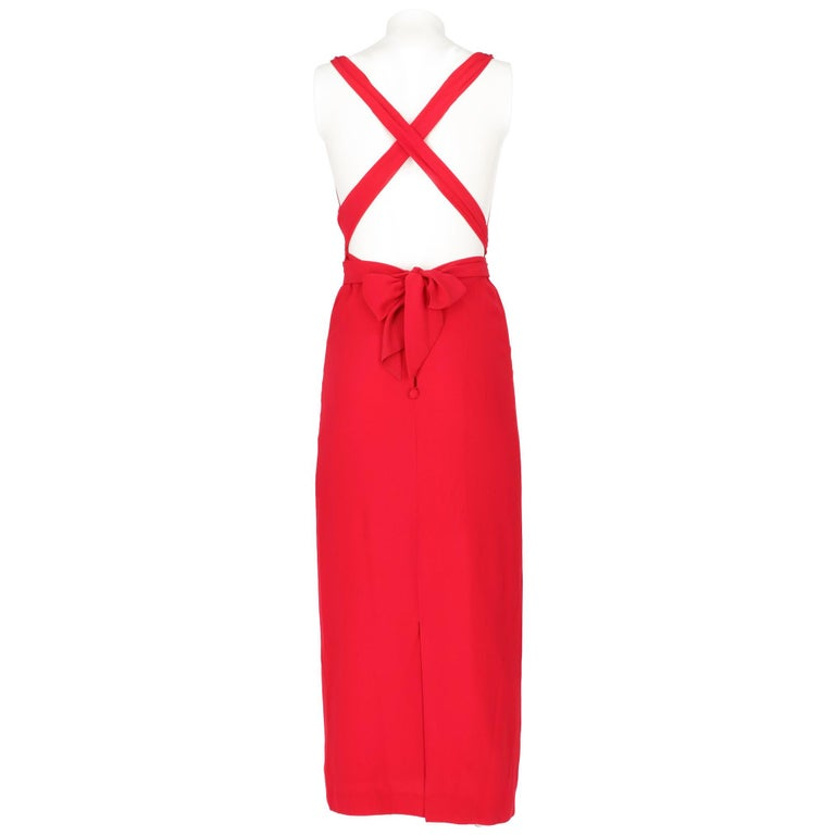 Women's 90s Lancetti Red Silk Dress For Sale