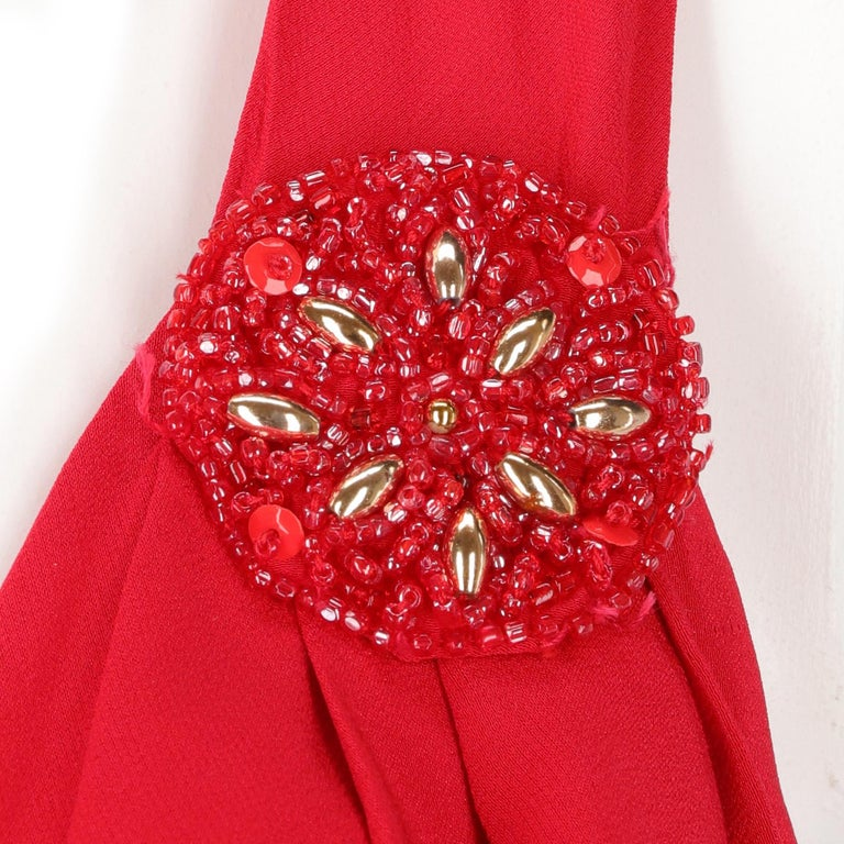 90s Lancetti Red Silk Dress For Sale 2