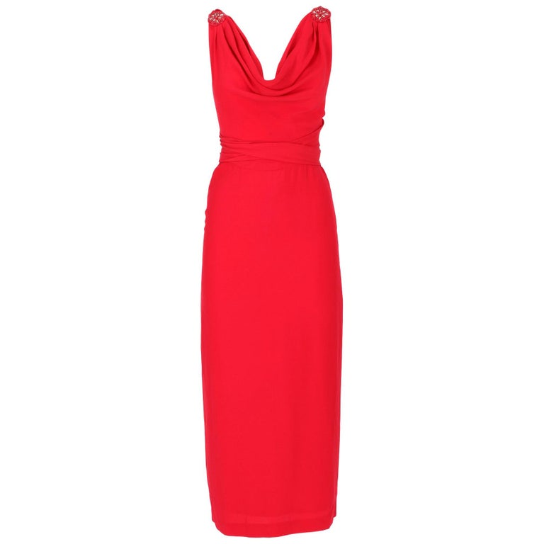 90s Lancetti Red Silk Dress For Sale