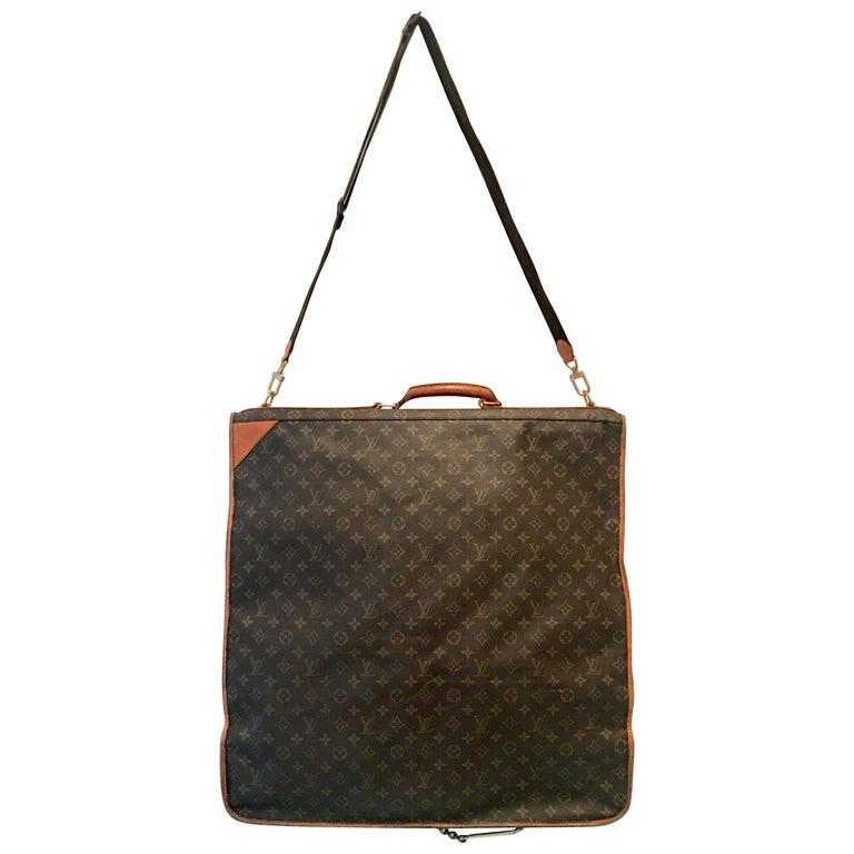 "90'S Louis Vuitton Canvas & Leather ""LV"" Monogram Hanging Travel Garment Bag For Sale"