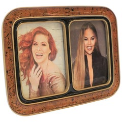 1990s Modern Black and Gold Double Picture Frame